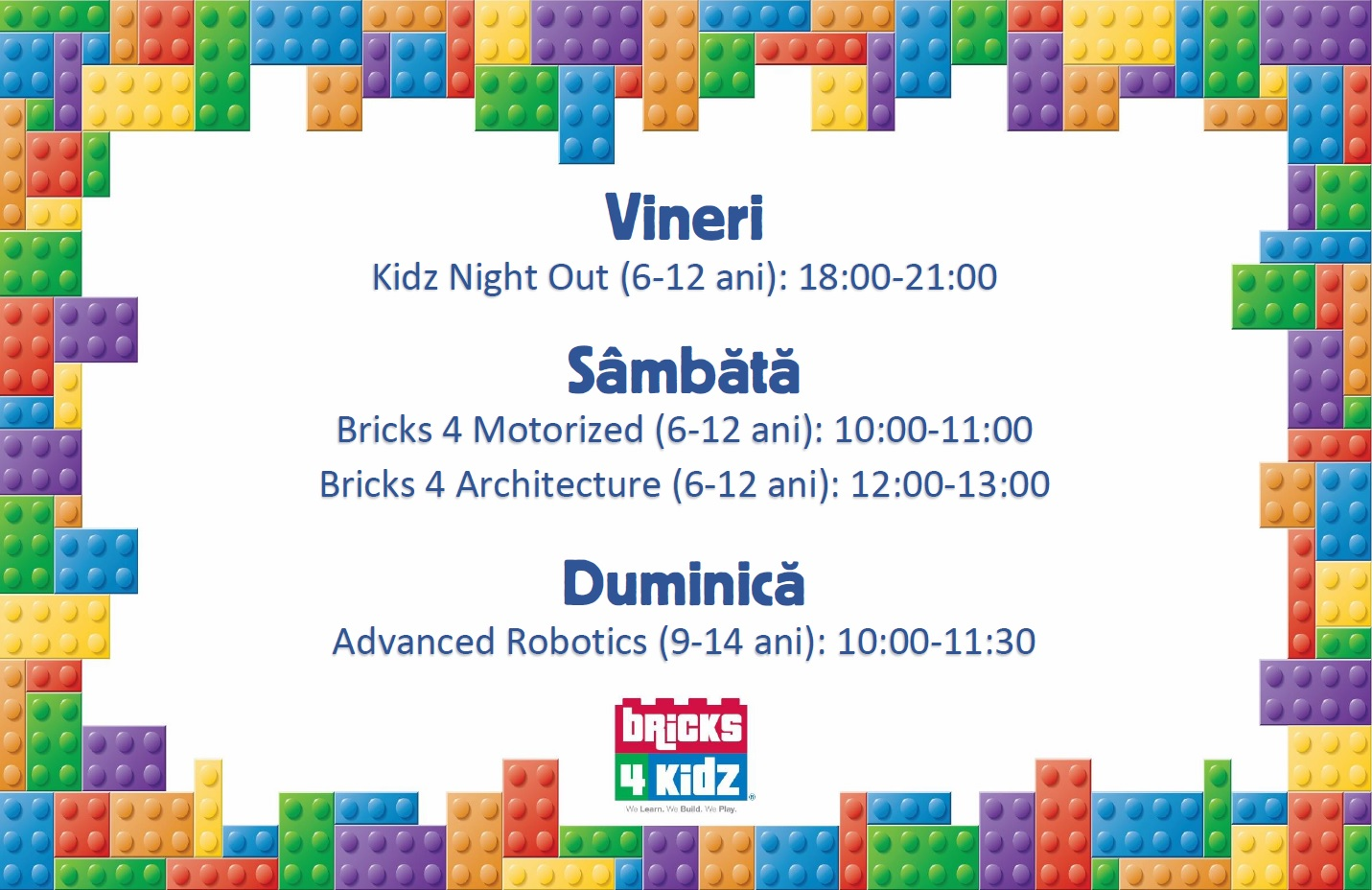 Program activitati Bricks 4 Kidz